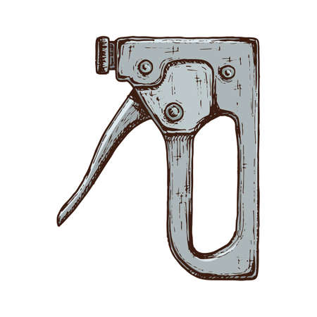 Old construction stapler tool, colorful vintage hand drawn illustration of tool. Vector