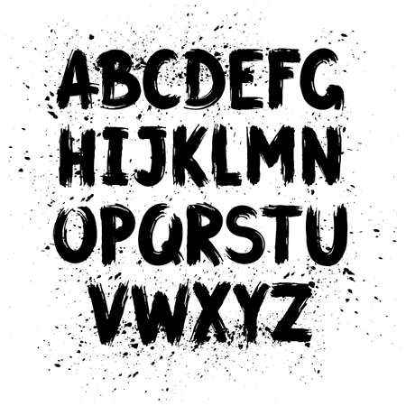 uppercase: Hand written calligraphy alphabet, black ink brush lettering, abc latin alphabet, grunge font style with ink splashes. Vector