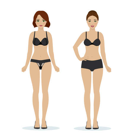Girls in black underwear, black bras and panties, colorful flat illustration of women underwear. Vector Illustration