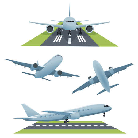 jetliner: Set of planes in different views and runway. Vector