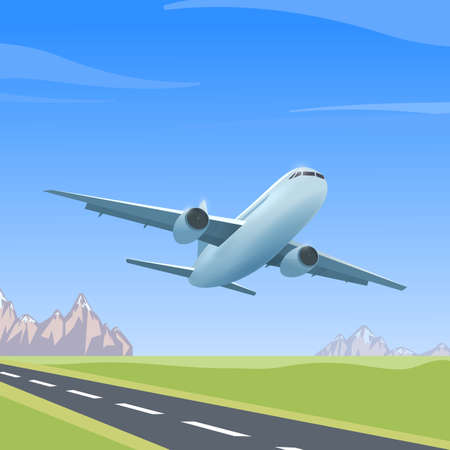Airplane is flying over the runway, colorful illustration of aircraft. Vector