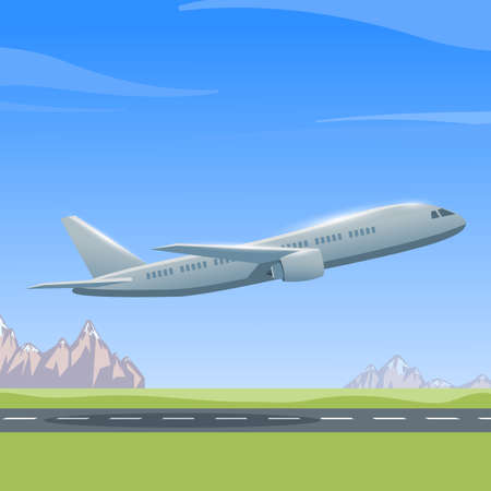 jetliner: Airplane is flying over the runway, colorful illustration of aircraft. Vector