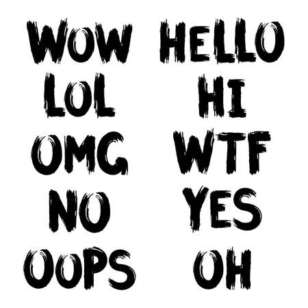 Hand drawn lettering with ink brush of internet slang, wow, hello, lol, hi, omg, wtf, no yes oops oh Vector Illustration