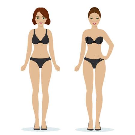Girls in black underwear, black bras and panties, colorful flat illustration of women underwear. Vector Illustration
