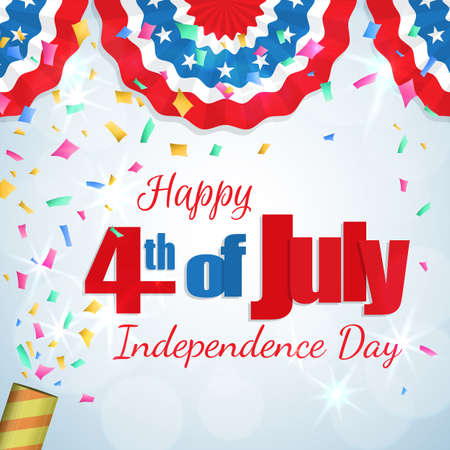 Happy 4th of July, Independence Day greeting card with a cracker and confetti, paper patriotic bunting. Happy July Fourth. Vector. Illustration