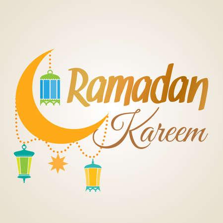 Ramadan Kareem greeting card. Islamic crescent moon and lantern lamps. Illustration for muslim holy month Ramadan. Vector