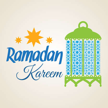Ramadan Kareem greeting card with Islamic lantern lamp. Illustration for muslim holy month Ramadan. Vector Illustration