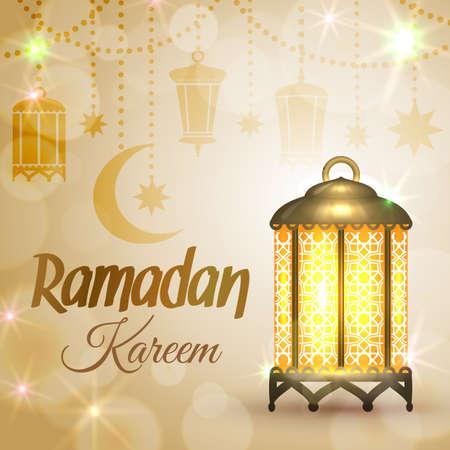 Ramadan Kareem greeting card. Islamic lantern lamp. Illustration for muslim holy month Ramadan. Vector