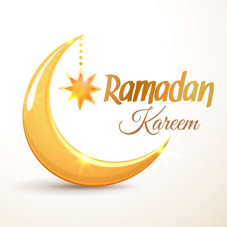 Ramadan Kareem greeting card. Islamic golden crescent moon and star. Illustration for muslim holy month Ramadan. Vector Illustration