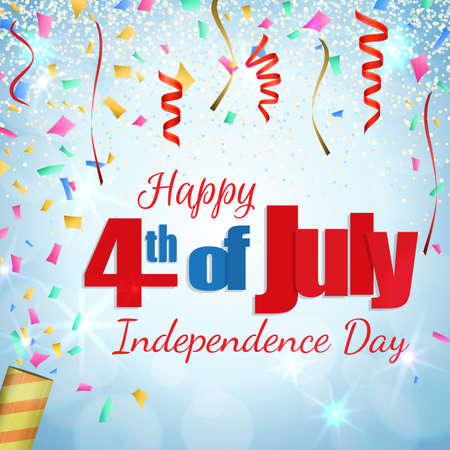 streamers: Happy 4th of July, Independence Day greeting card with a cracker and confetti. Happy July Fourth. Vector