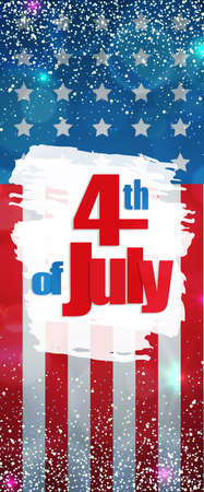 Happy 4th of July, Independence Day greeting card vertical banner. Happy July Fourth. Vector Illustration