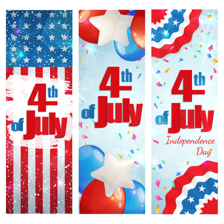 streamers: Happy 4th of July, Independence Day, set of greeting cards vertical banners. Happy July Fourth. Vector Illustration