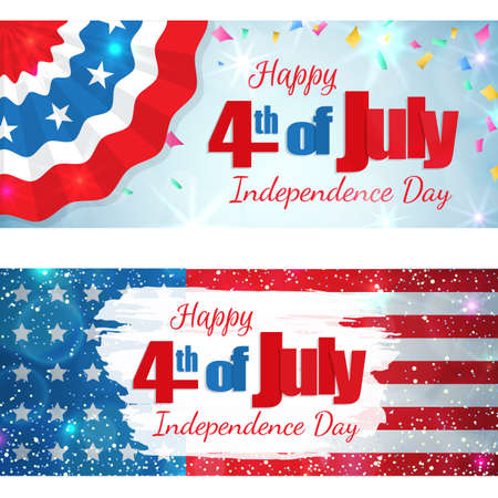 Happy 4th of July, Independence Day, set of greeting cards horizontal banners. Happy July Fourth. Vector