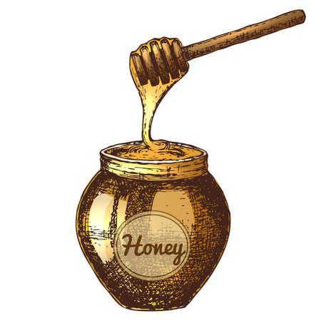 Hand drawn ink sketch illustration of honeypot, organic nature product vector illustration