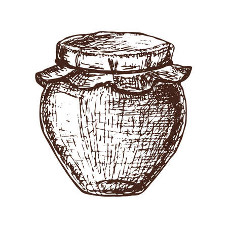 ink pot: Hand drawn ink sketch illustration of honey pot, organic nature product. Vector