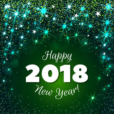 81578145 happy new year 2018 greeting card festive illustration with colorful confetti party popper and sparkles vector