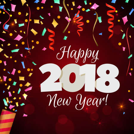 Happy New Year 2018 greeting card. Festive illustration with colorful confetti, party popper and sparkles. Vector Illustration