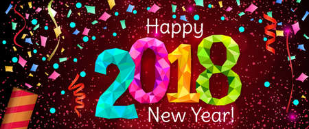 Happy New Year 2018 greeting horizontal banner. Festive illustration with colorful confetti, party popper and sparkles. Vector Çizim