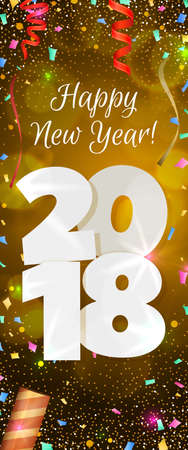 Happy New Year 2018 greeting vertical banner. Festive illustration with colorful confetti, party popper and sparkles. Vector