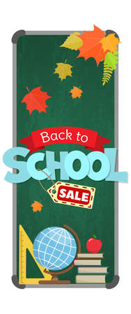 Blackboard with greeting, First day of school, Back to school sale vertical banner. Vector
