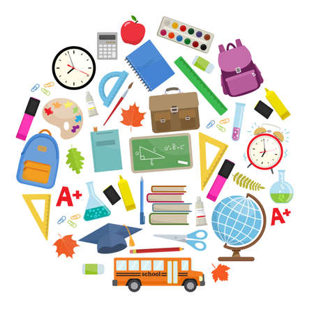 Set of different school supplies. First day of school, Back to school flat icons. Vector