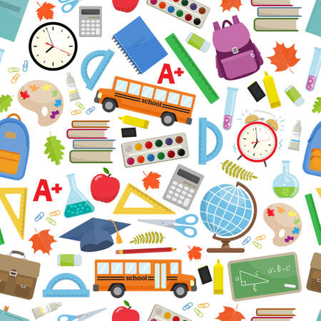 Seamless background of different school supplies. First day of school, Back to school flat icons. Vector