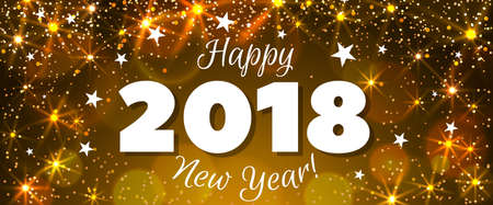 Happy New Year 2018 greeting horizontal banner. Festive illustration with colorful confetti, party popper and sparkles. Vector Vettoriali