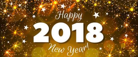 Feliz año nuevo 2018 saludo banner horizontal. Ilustración festiva con confeti de colores, fiesta popper y destellos. Vector