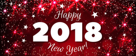 Happy New Year 2018 greeting horizontal banner. Festive illustration with colorful confetti, party popper and sparkles. Vector Illustration