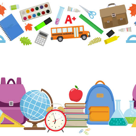 Horizontal border of different school supplies. First day of school, Back to school flat icons. Vector