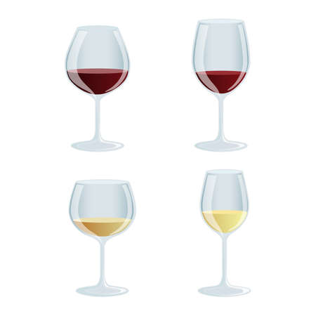 Set of colorful wine glasses icons Vector Illustration