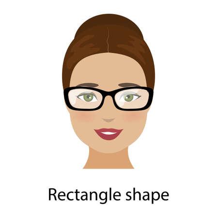 長方形の形の顔ベクトルを持つ女性
