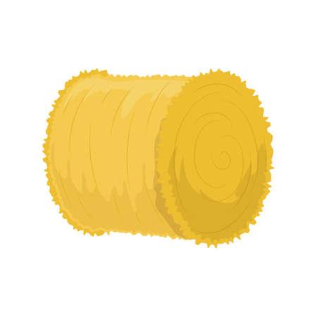 Rouleau de foin plat icône, illustration colorée. Vecteur