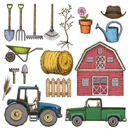 labranza: Cultivo de iconos de boceto Vectores