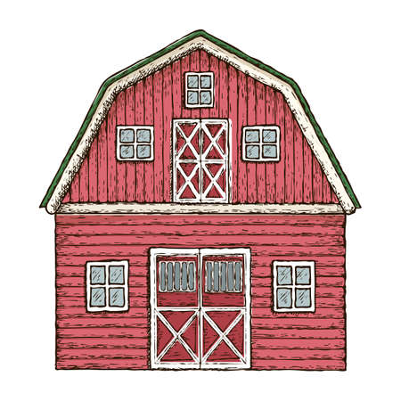 Red wooden farming barn