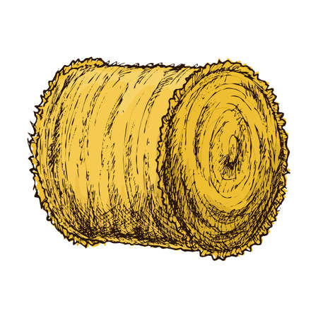 Roll of hay sketch Иллюстрация