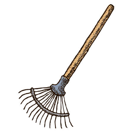 Fan rake farming instrument Иллюстрация