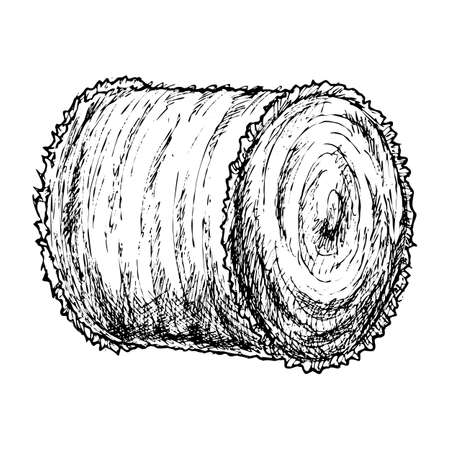 Roll of hay sketch Ilustrace