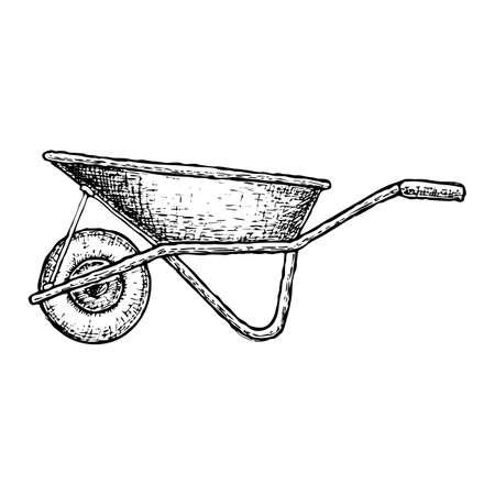 Wheelbarrow isolated sketch