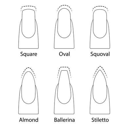 Set of nails shapes Stock Illustratie