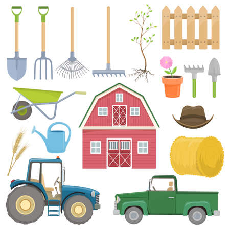 tillage: Set of colorful farming equipment icons. Farming tools and agricultural machines decoration. Vector