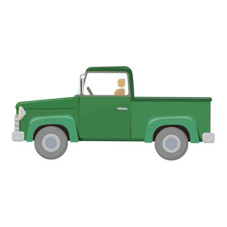 Green pick-up truck
