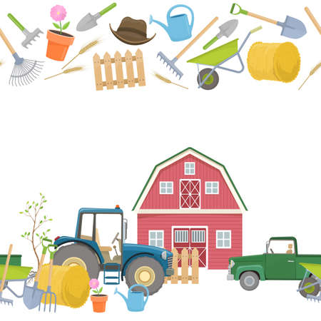 tillage: Farming agricultural borders Illustration