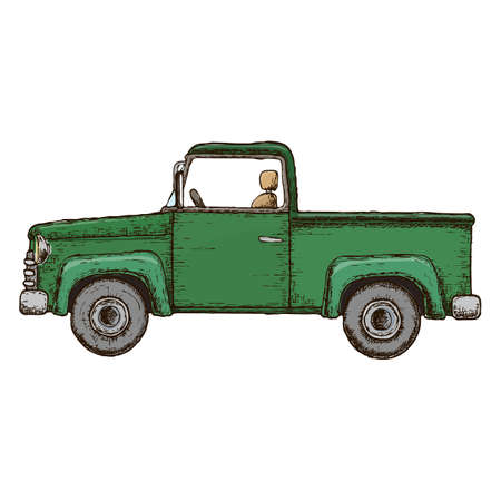 Green pick-up truck, colorful sketch illustration. Farming vehicle. Vector Illustration