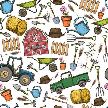 tillage: Seamless background of farming