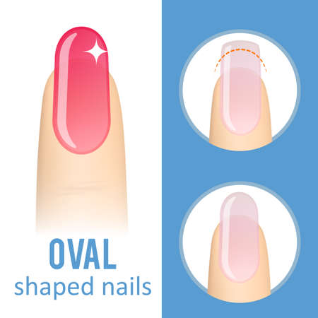 Nail manicure. How to make oval nail shape. Vector