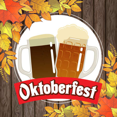 Oktoberfest illustration for the German autumn beer festival. Vector