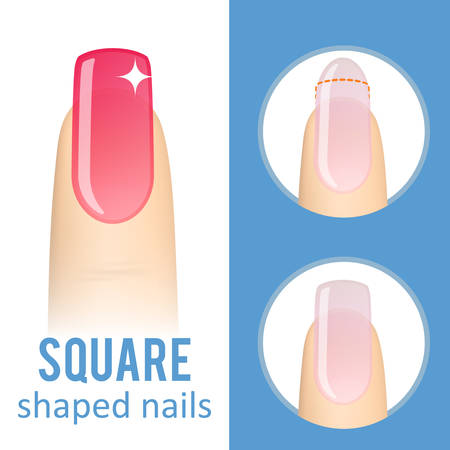 Nail manicure. How to make square nail shape. Vector