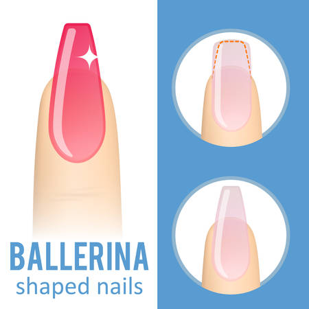Nail manicure. How to make ballerina nail shape. Vector