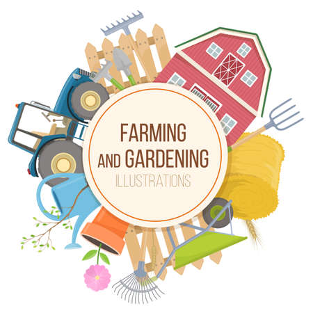 labranza: Set of colorful farming equipment icons. Farming tools and agricultural machines decoration. Vector
